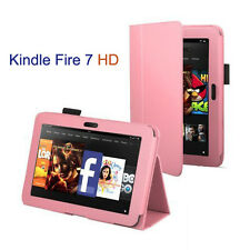 Smart Flip Case for Amazon Kindle Fire 7 HD, Stylus Pen & Screen Protector -Pink