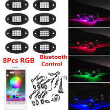 8 RGB LED Under Body Light Mini Rock Lamp Offroad Truck Boat Bluetooth Car party