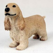 English Cocker Spaniel Dog Hand Painted resin Figurine Collectible Blonde puppy