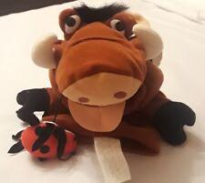 """Disney Lion King Pumba Hand Puppet Pumbaa 10"""" Plush Doll Toy Eating Lady Bug"""