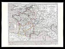 1849 Houze Map France Charles IV 1270-1328 Paris Guienne Languedoc Comte Flander