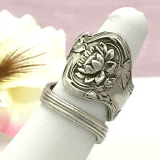 Sterling Silver Lotus Spoon Ring POND LILY Silverware Jewelry,Lg Sz 8-13,P+B