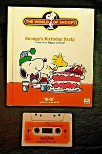 TALKING SNOOPY BOOK/TAPE SNOOPY'S BIRTHDAY PARTY WORKS 1986 WORLDS OF WONDER