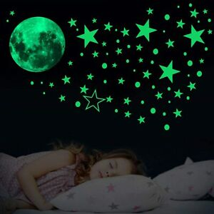 435 Wall Luminous Stickers Glow In The Dark Stars Moon Planet Space Bedroom Deco