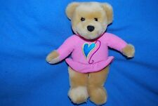 "Hallmark ""Kiss Kiss"" Pink Valentine Girl Bear plush 9"" tall Heart Love"