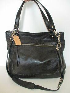Coach Poppy Glam Tote Bag Shoulder Bag Black Leather Removable Shoulder Strap