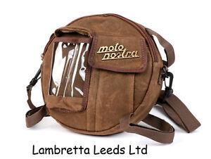 LAMBRETTA & VESPA SPARE WHEEL BAG MOTO NOSTRA BROWN CLASSIC .WAXED CANVAS .