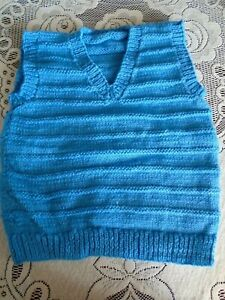 """New Hand Knitted Blue V Neck Pullover 26"""" chest  aprox (3/4 yrs)"""