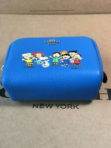 NWT 6447 Coach X Peanuts Mini Boxy Cosmetic Case with Snoopy and Friends