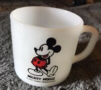 Vintage Mickey Mouse Walt Disney Productions white milk glass coffe mug