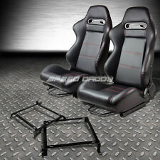 TYPE-R PVC LEATHER+STITCH RACING SEATS+BRACKET FOR 88-91 HONDA CRX DX/SI EE EF