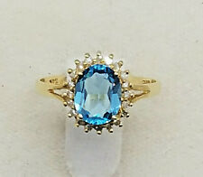 BRAND NEW - 14K Solid Yellow Gold Diamond Oval Blue Topaz Ring 2.4 Grams