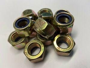 (QTY 6) M14 X 1.5mm pitch NYLOC NUTS TYPE T DIN 985 STEEL ZINC/YELLOW