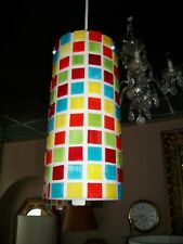 LUMINAIRE HANGING MOSAIC LIGHT FIXTURE GLASS COLORED GLASS SQUARES