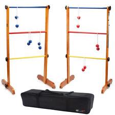 Wooden Ladder Toss Game Set with 6 Bolo Balls. Backyard Lawn Beach Toss Game