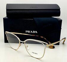 Brand New PRADA Eyeglasses VPR 54U SL4-1O1 51-17 145 Gold & White Cat Eye Frames
