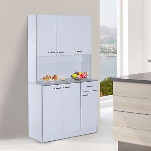 White Kitchen Cupboard Country Sideboard Buffet Server Pantry Cabinet Dresser