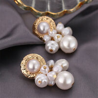 White Baroque Pearl Earrings 18k Ear Drop Natural Fashion Classic Dangle Gift