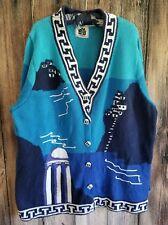 Handknits By Storybook Knits Blue Plus Size 1X Greek Isles Cardigan Sweater