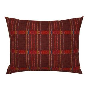 Oxblood Red Claret Ikat Weaving Christmas Red Green Pillow Sham by Roostery