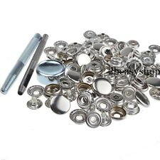 Heavy Duty Silver Poppers Snap Fasteners 15mm 15 Sets Press Studs Kit Buttons AU