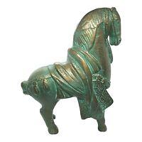 Vintage Tang War Horse Figurine Statue Cast Iron Japan Dynasty Warrior Horse
