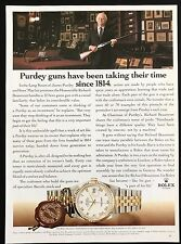 Vintage Print Ad ROLEX WATCHES Timepiece Clock Wristwatch Purdy Guns