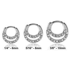 316L Surgical Steel Septum Clicker Nose Ring Hoop Clear CZ Choose Your Size 14G