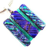 DICHROIC Glass PENDANT Silver Slide Green Blue Sapphire Striped Patterned 25mm