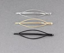 set 3 bobby pin oval outline bobby bobbi pins clip barrette hairpin silver gold