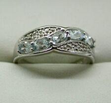 Sterling Silver Espirito Santo Aquamarine And Diamond Cross Over Style Ring