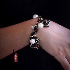 Bracelet Email Fleur Camélia Noir Perle Cristal Tissu Retro Vintage Original CT4