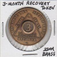 (T) Token - Three Month Recovery Token - 33 MM Brass