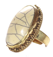 Layla-Cream White Oval Crackle/golden Embroidery Stretchable Ring(Ns9)