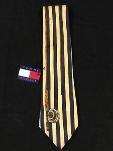 Vintage 90s Tommy Hilfiger Neck Tie Yellow Navy Blue 100% Silk Fly Fishing Rod