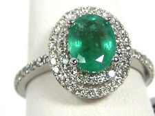 Emerald Ring 14K White gold Pave Double Halo Natural Sz 6.5 Heirloom 1.64Ct $5,3