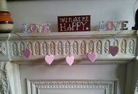 Brand New Bunting Pink&White Polkdot Wooden Hanging Hearts Garland Shabby Chic
