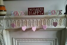 NEW BUNTING Shabby Chic Pink & White Polka Dot Wooden Hanging Heart Garland