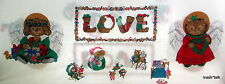 Vintage Christmas Applique Fabric Panel puppy cat angel LOVE bears Wamsutta