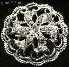 UK SILVER DIAMANTE RHINESTONE CRYSTAL FLOWER BROOCH BRIDAL PROM PARTY DECORATION