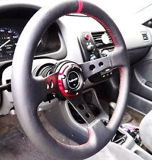 VMS 96-00 HONDA CIVIC RED STEERING WHEEL & BLACK HUB QUICK RELEASE COMBO 350MM