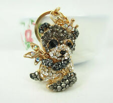 Panda Black Bamboo Lovely Cute Crystal Purse Bag Keyring Key Chain Pendent Gift