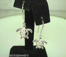 14mm Hawaiian 2-T Silver 14k Yellow Gold 14k Turtle Plumeria CZ Hook Earrings
