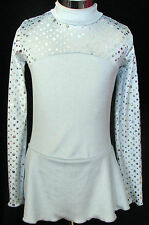 LIGHT BLUE SILVER Competition Ice Figure Skating Dress Girls X -SMALL 5 / 6 / 6X
