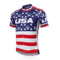USA Men's Cycling Jersey Full Zip Bike Cycle Jersey Cycling Team Shirt S-5XL