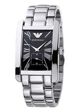NEW EMPORIO ARMANI SILVER TONE S/STEEL ROMAN # BLACK DIAL WATCH AR0156+BOX
