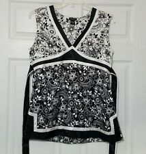 Bay Studio Women's Blouse Shirt~ Sz L ~ Black & White ~ Sleeveless ~ Satin Feel