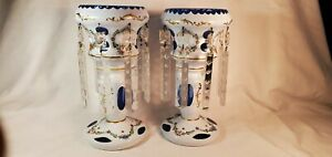 Antique PR  Bohemian Cased Cut Glass Mantle Lusters White Enamel Blue Crystals