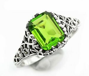 1CT Peridot 925 Solid Sterling Silver Art Deco Style Ring Jewelry Sz 8, UF15