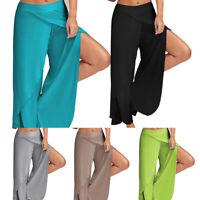 Women High Slit Chiffon Yoga Pants Flared Palazzo Trousers Wide Leg Loose M-5XL